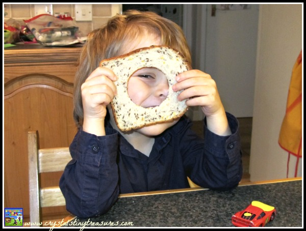 Fun breakfast foods for kids, egg in toast, photo