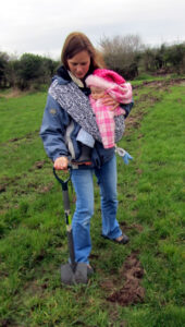 sling baby wearing attachement parenting green gardening photo