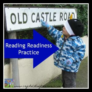 Reading readiness, letter recognition, outdoor reading skills, photo
