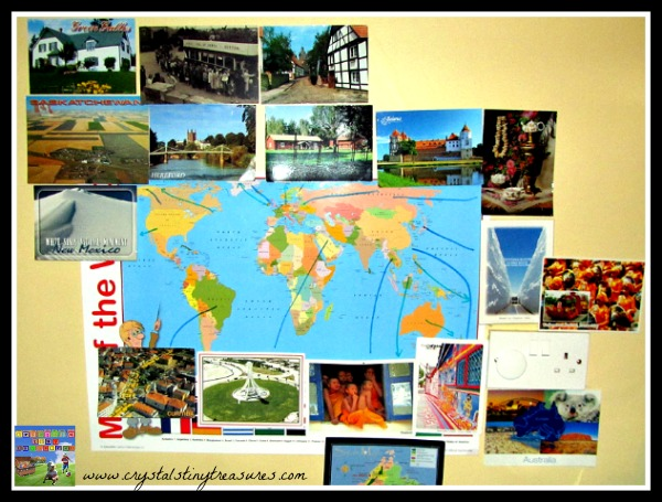 our postcard wall, cultural exchanges, learning about geography, Crystal's Tiny Treasures, photo