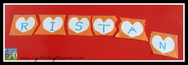 Learning your name with a name puzzle, learning about letters, Crystal's Tiny Treasures, photo