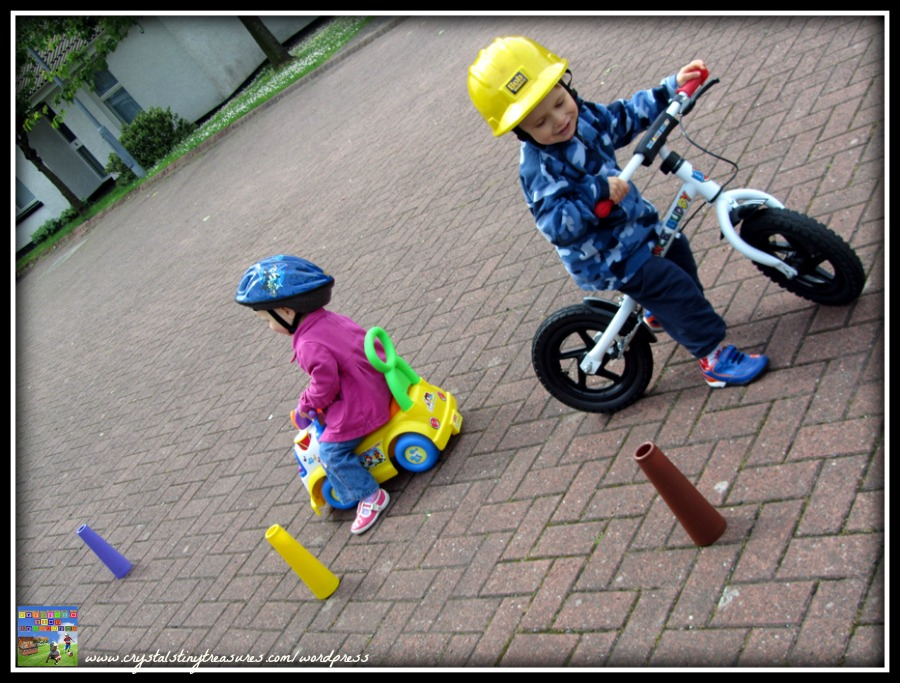 Balance bike, maneouvre skills on a bike, outdoor fun for boys, photo