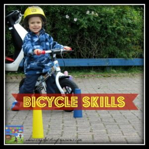 Bike skills for beginners, learning to ride a bike, fun bike skills for kids, photo