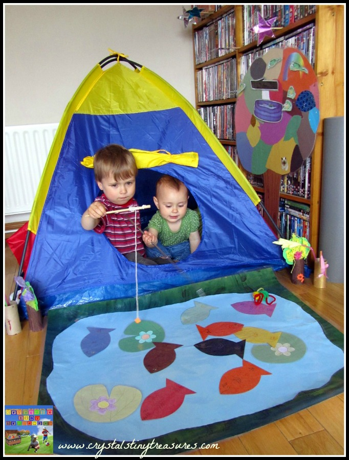 indoor camping fun, children fishing, children learning numbers and colours, indoor pond, photo