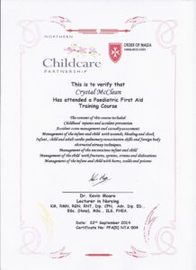 Paediatric First Aid Certificate Sept 22 2014