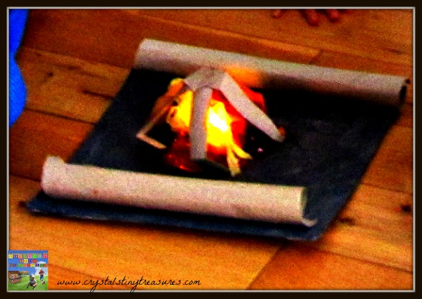 cardboard tube crafts, indoor campfires, how to teach children how to build a campfire, photo