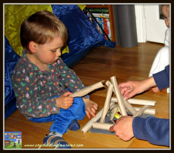 homemade campfire with preschoolers and toddlers, junk craft, recycling and crafts, photo