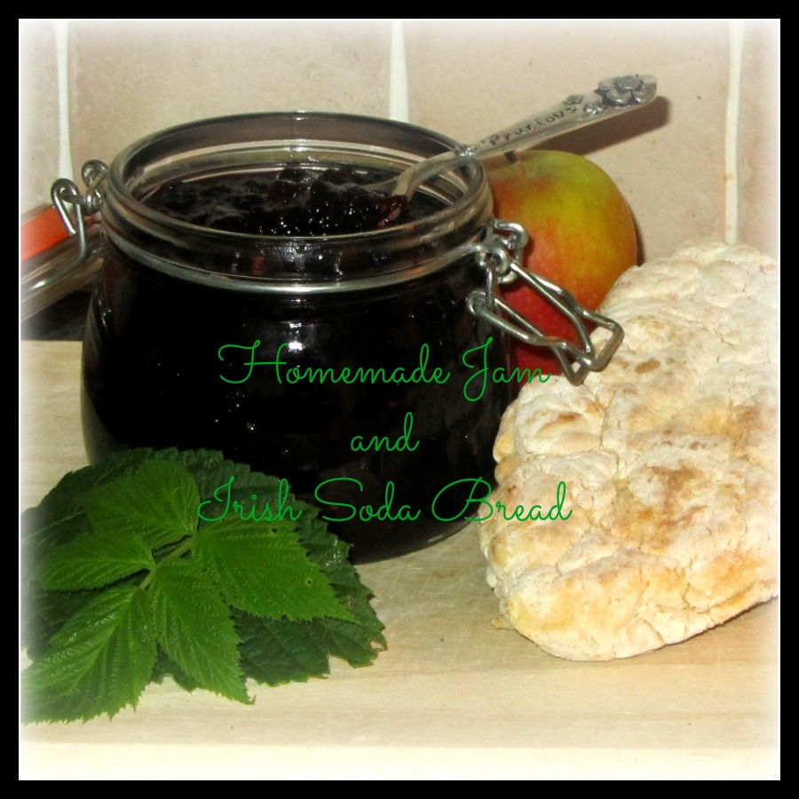 foraged blackberry and apple jam, homemade Irish soda bread, photo