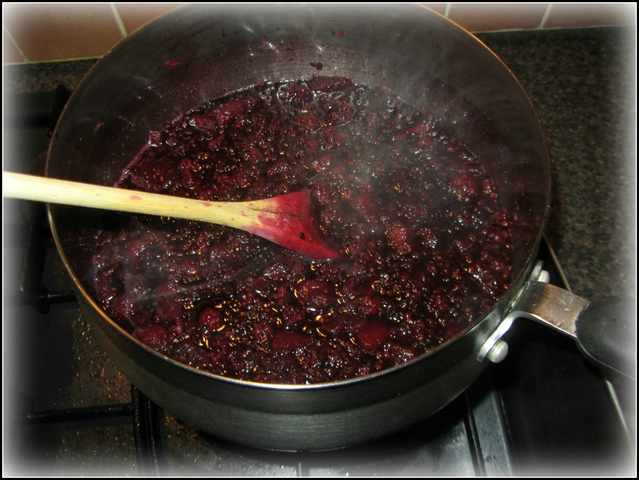 Making blackberry and apple jam from scratch, winter preserves, self-sufficient living in Ireland, photo