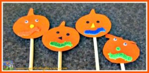 pumpkin puppets, the pumpkins are here song, action songs for Halloween, children's Halloween songs, photo
