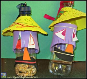 scarecrows, birdfeeders, recycling water bottles, wooden spoon crafts, photo