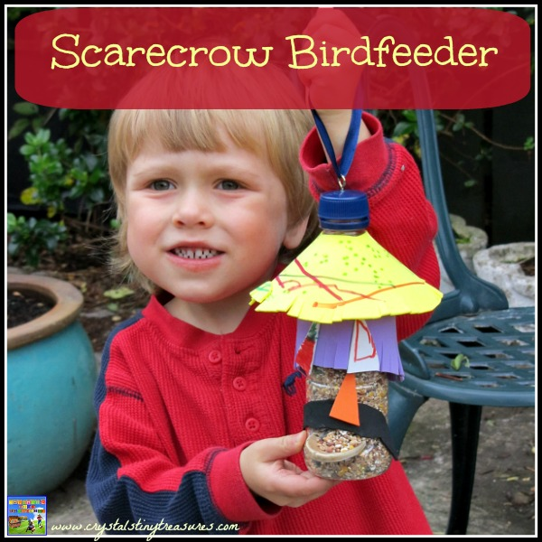 carecrow Birdfeeder from a plastic bottle by Crystal's Tiny Treasures