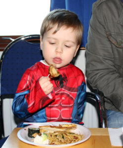 Children trying new foods, Japanese cuisine, Takoyaki, Okonomiyaki, Yakisoba, photo