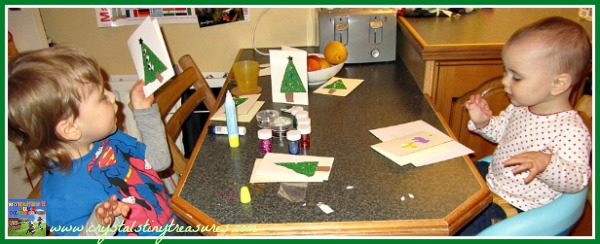 Christmas cards for families, Preschool learning while making Christmas crafts, photo