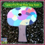 Colourful tree Bean bag toss game, gross motor skills fun for kids, learning about colours, springtime fun, photo