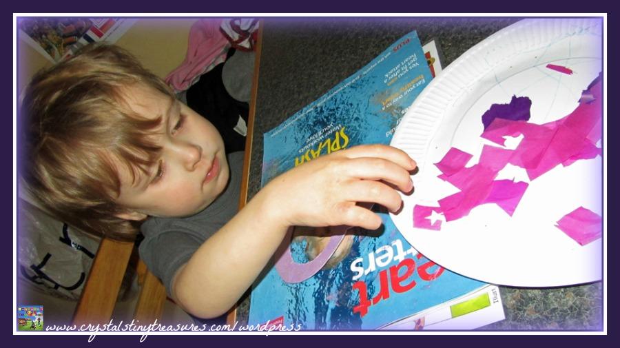 crumpling tissue paper, gluing tissue paper, easy Valentine's crafts for kids, photo