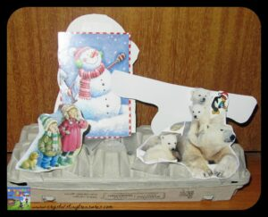 Iceberg egg carton craft for kids, Crystal's Tiny Treasures Childminder in Whitehead and Islandmagee, recycling Christmas card ideas, photo