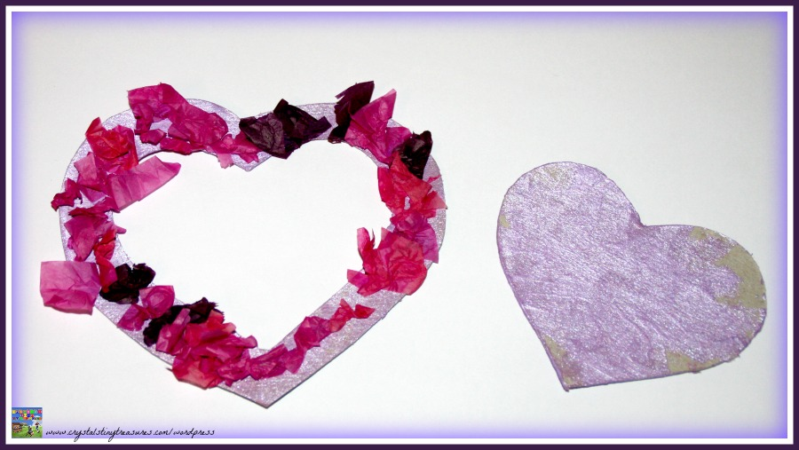 Valentine's Day crafts for kids, easy Valentine's Day crafts for toddlers and preschoolers, tissue paper crafts for Valentine's Day, Crystal's Tiny Treasures Childminding in Whitehead, photo