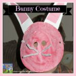 Home made Easter bunny costume for kids, paper plate bunny mask, photo