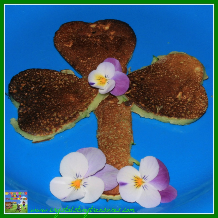 Zucchini pancakes, Shamrock pancakes, St. Patrick's Day breakfast, Crystal's Tiny Treasures chilminding, Pancake recipe, photo