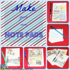 How to make your own re-cycled note pads, Earth day ideas, Crystal's Tiny Treasures, photo