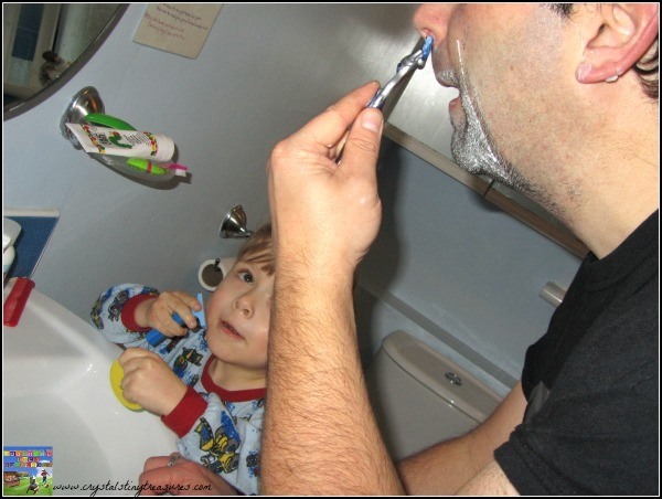 shaving fun for kids, just like Daddy, first shave, photo