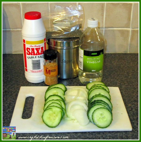 Pickles in a bucket ingredients, pickle recipes, cucumber recipes, family favourite recipes, photo