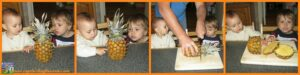 Using the 5 senses to explore fruit, Handa's Surprise book activities, children's snacks, Crystal's Tiny Treasures, photo
