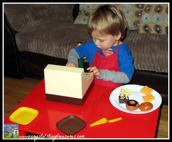 Setting up a baker's shop for kids play, Crystal's Tiny Treasures, photo