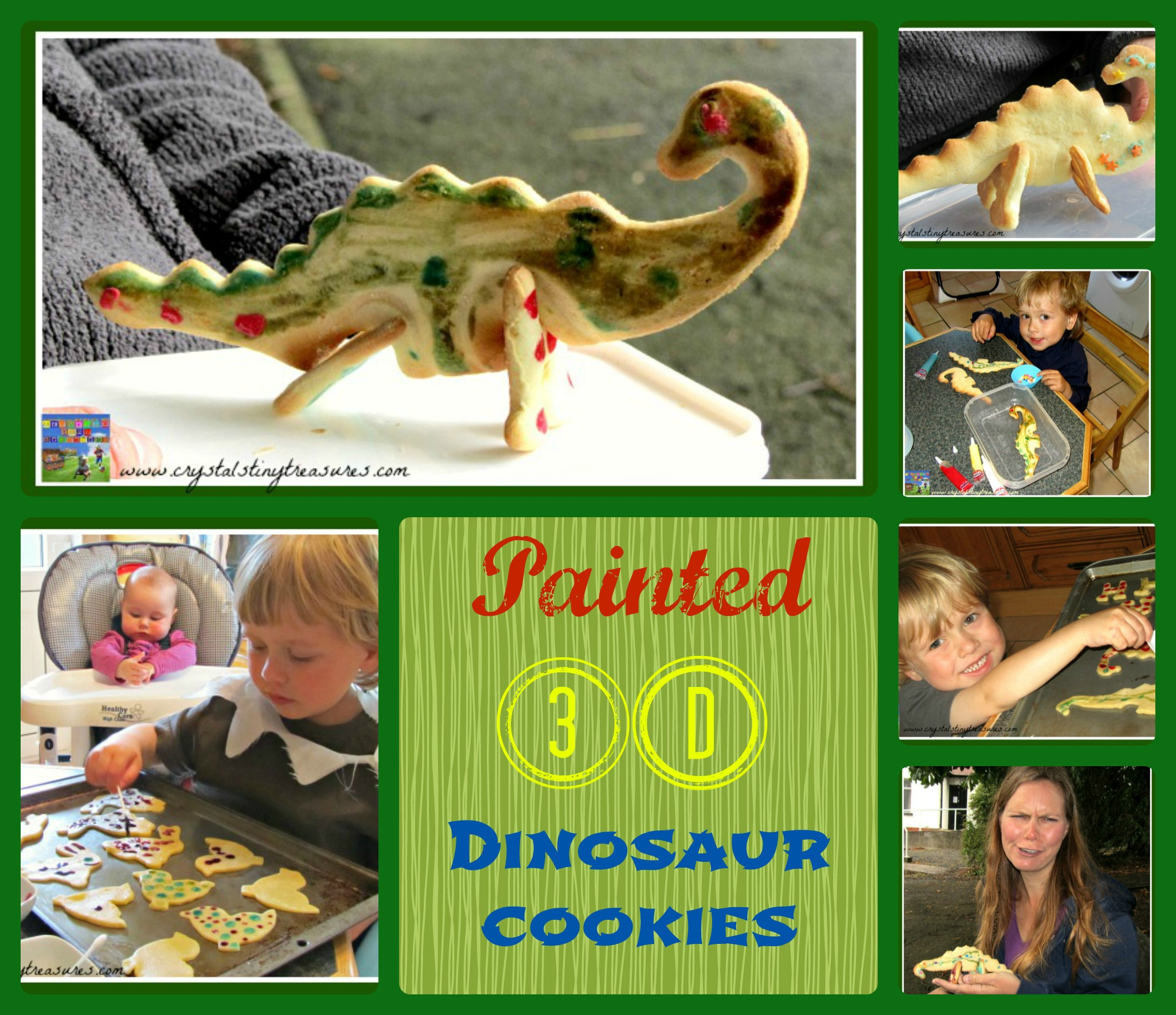 3D Painted Dino cookies, fun cookies for kids to bake, painted cookies, dino cookies, adventure cookies, photo