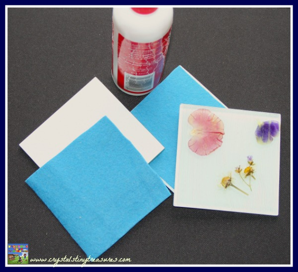 Make your own garden coasters, recycling glass tiles, pressed flower crafts, photo