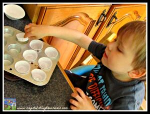 kids in the kitchen, Pear Spice muffin recipe, fruit muffins, Crystal's Tiny Treasures, photo