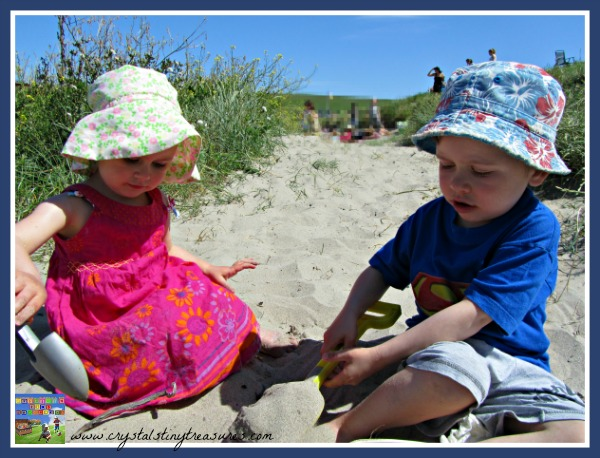 kids at the beach, looking for shells, Crystal's Tiny Treasures, photo