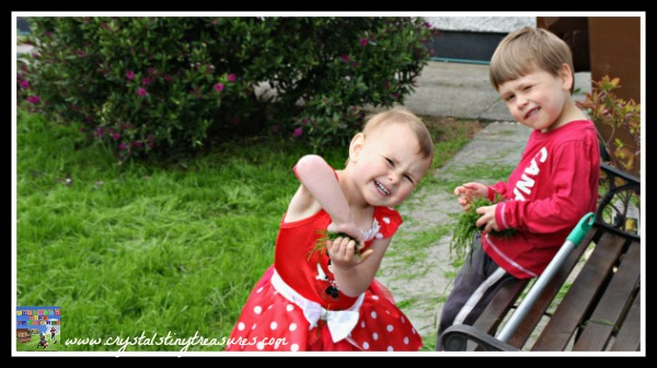Kids having fun with their new lawn, photo