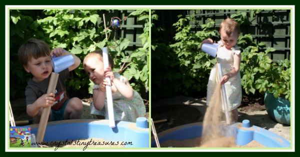 Filling cardboard tubes with sand, Crystal's Tiny Treasures, music ideas for daycares, junk music, photo