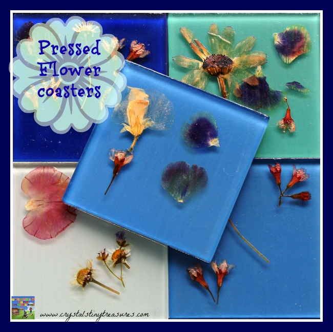 Pressed Flower Tile Coasters