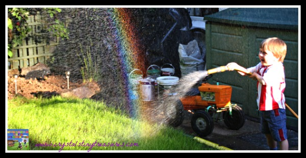 backyard rainbows, water hose rainbows, photo
