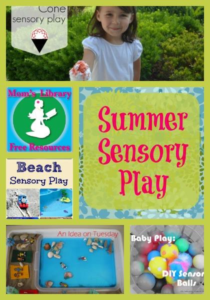 Summer sensory play on Mom's Library with Crystal's Tiny Treaures