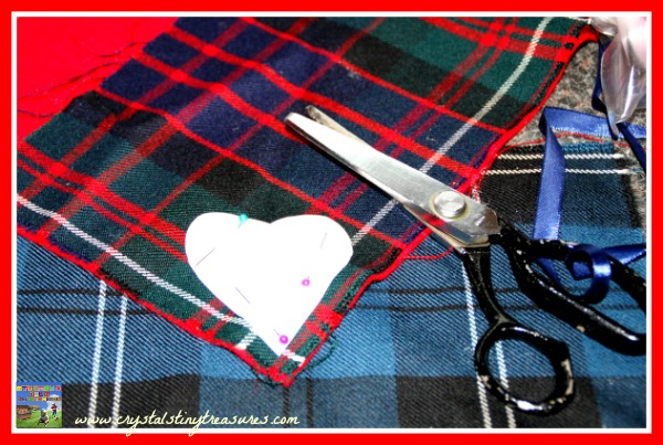 Tartan heart patterns, travel memories, Learning to sew, Christmas tree ornaments, drawer fresheners, Crystals Tiny Treasures, photo