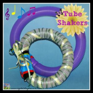 Plastic hose shakers are lots of fun for little ones!