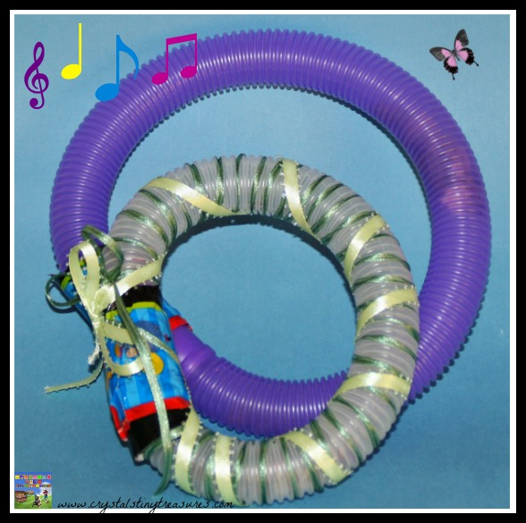 Plastic tubing turned into musical instruments, photo