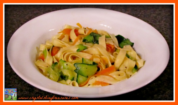 Ribbon pasta with Veggies, What's for supper, healthy family meal, photo