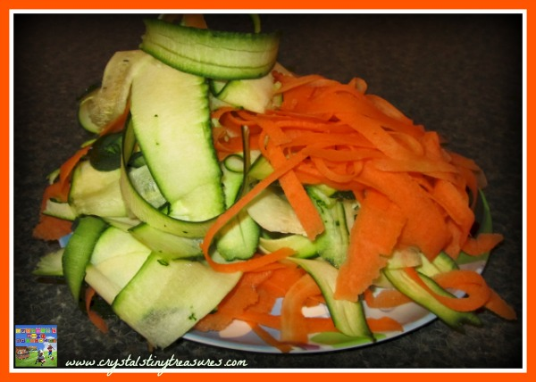 Ribboned zucchini and carrots, Crystal's Tiny Treasures, healthy pasta meals, photo