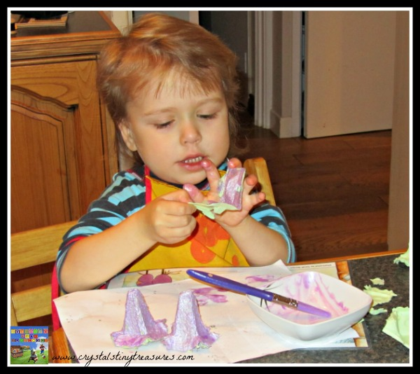 Painting egg cartons, making props for pretend play, Crystal's Tiny Treasures, daycare ideas, photo