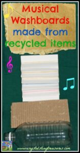 3 Musical Washboards made from recycled items, photo