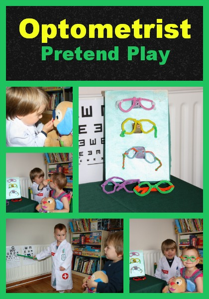 Optometrist Pretend Play with homemade props, Crystal's Tiny Treasures