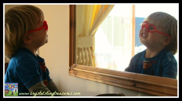 Pipe Cleaner Clark Kent Glasses, homemade Superman costume, superhero pretend play, photo