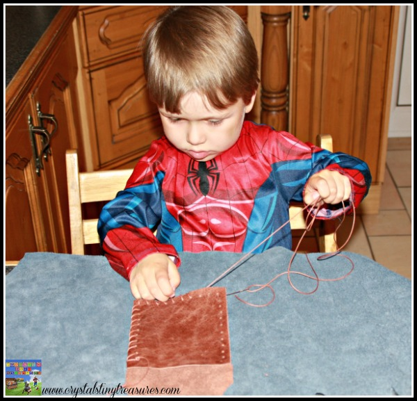 Sewing practice is great for fine motor skills, practical fine motor skills, artisan in training, photo