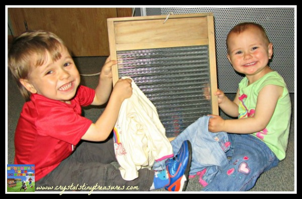 Learning to use a washboard, Larne museum, washboard music, Crystal's Tiny Treasures, photo