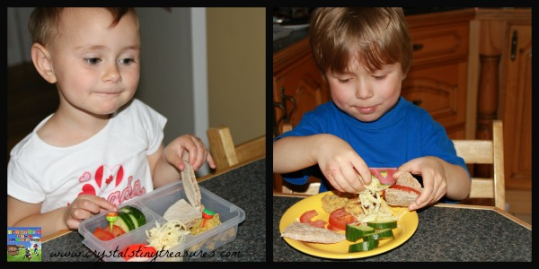Enjoying their DIY Lunchbox meals, Crystal's Tiny Treasures, healthy eating choices made easy, learning to pack a healthy lunch, photo